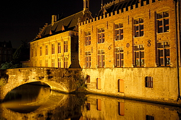 Water reflection, River Dijver, Bruges at night, Flanders, Belgium, Europe