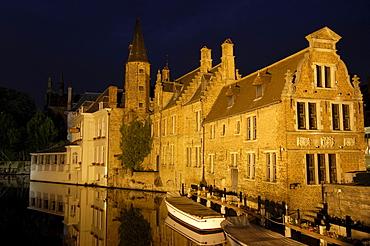 Water reflection on River Dijver at dusk, Bruges, Flanders, Belgium, Europe