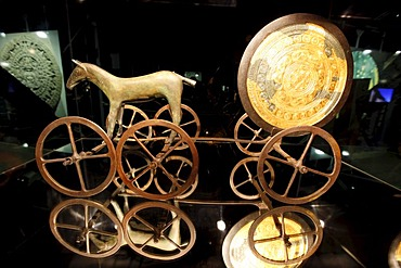 Lunar globe on a horse-drawn carriage, Out of this World ? Wonders of the Solar System, exhibition in the Gasometer, a former gas tank, Oberhausen, Ruhr Area, North Rhine-Westphalia, Germany, Europe