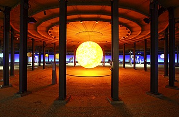 Three-dimensional representation of the Sun, Out of this World ? Wonders of the Solar System, exhibition in the Gasometer, a former gas tank, Oberhausen, Ruhr Area, North Rhine-Westphalia, Germany, Europe