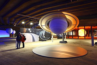 Three-dimensional representation of the Sun and her planets, Out of this World ? Wonders of the Solar System, exhibition in the Gasometer, a former gas tank, Oberhausen, Ruhr Area, North Rhine-Westphalia, Germany, Europe