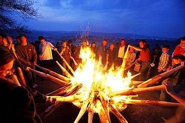 Traditional Easter fire on 7 hills around Attendorn, Sauerland, North Rhine-Westphalia, Germany, Europe