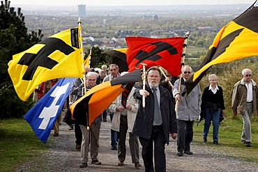 Way of the Cross procession on Good Friday with mining motifs on the Haniel slag heap, at the Prosper-Haniel mine, Bottrop, Ruhr area, North Rhine-Westphalia, Germany, Europe