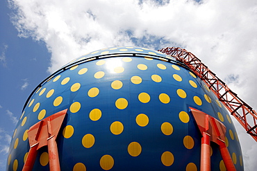 Artistically designed spherical container for the intermediate storage of natural gas during gas usage peak times, ELE, Emscher-Lippe-Energy, regional energy provider in the Ruhr Area, Gelsenkirchen, North Rhine-Westphalia, Germany, Europe
