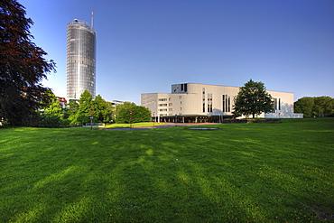 Aalto Theater, opera house, RWE Tower, Essen, North Rhine-Westphalia, Germany, Europe