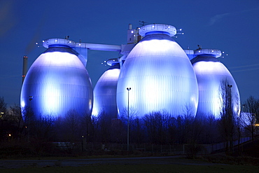 Four digestions tanks of the Bottrop clarification plant, North Rhine-Westphalia, Germany, Europe