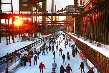 Skating rink at coking plant Zollverein, UNESCO World Cultural Heritage Site Zeche Zollverein, Essen, North Rhine-Westphalia, Germany, Europe