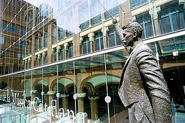 Palau de la Musica Catalana, sculpture of a conductor with a baton, modern glass front at back, Barcelona, Catalonia, Spain, Europe