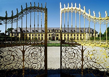 Golden gate, view on to orangery, Grosser Garten, Large Garden, Herrenhaeuser Gardens, Hanover, Lower Saxony, Germany, Europe