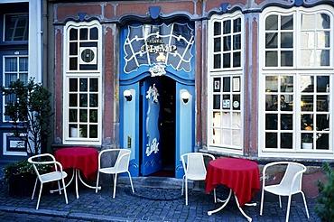 """Restaurant """"Kleiner Olymp"""" in a historical house, Schnoorviertel district, Schnoor, Bremen, Germany, Europe"""