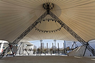 Huge tent roof for open-air concerts at the museum square, view of the cupola, Bonn, North Rhine-Westphalia, Germany, Europe