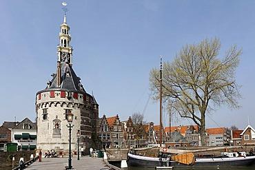 Historic fortified tower Hoofdtoren, harbour of Hoorn, IJsselmeer, Province of North Holland, Netherlands, Europe