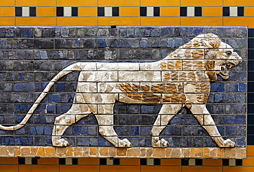 Lion, brick relief of the Babylonian Ishtar Gate, Archeological Museum, Topkapi Palace, Istanbul, Turkey