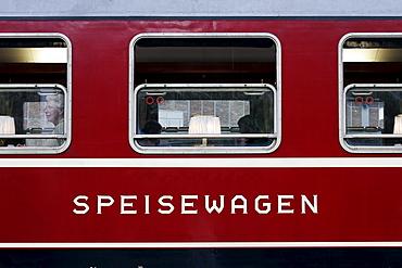 Historic restaurant car of the Deutsche Bahn, German Railways, built in 1965, type WRtmh 134, Germany