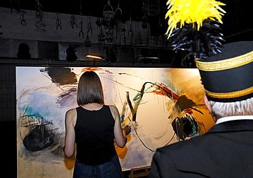 Extraschicht 2009 festival, woman painting an abstract painting, Schwarzkaue, disused mine Zeche Lohberg, Dinslaken, Ruhrgebiet region, North Rhine-Westphalia, Germany, Europe