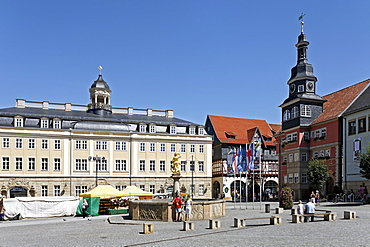 Martkplatz market place with Stadtschloss palace and city hall, Eisenach, Thuringia, Germany, Europe
