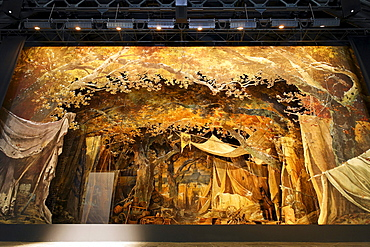 Historic stage design for Wallenstein's camp by Friedrich Schiller, Theater museum, Meiningen, Rhoen, Thuringia, Germany, Europe