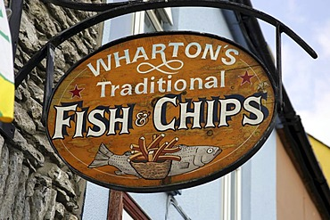 Fish and chips sign, Kenmare, Kerry, Ireland