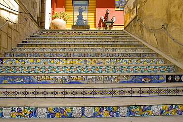 Ceramic tiles, decorative stairs, Sciacca, Sicily, Italy, Europe