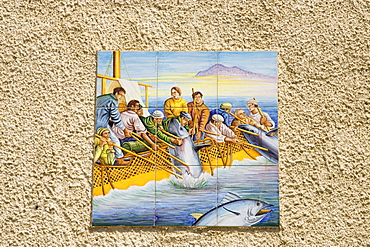 Ceramic tiles, wall decoration, fishing scene, Sciacca, Sicily, Italy, Europe