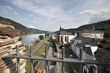 View of Oberwesel from the town wall, Upper Middle Rhine Valley, Rhineland-Palatinate, Germany, Europe