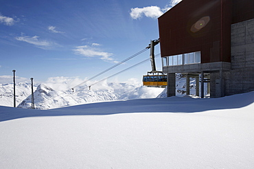 Gondola station, snow landscape, St. Moritz, Grisons, Switzerland, Europe