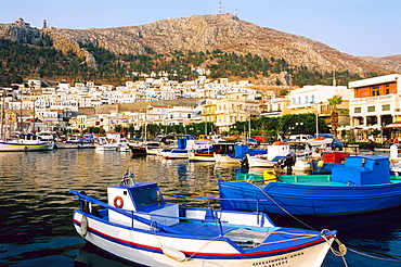 Fishing boats in the harbor of Pothia, Island of Kalymnos, Dodecanese Islands, Greece, Europe