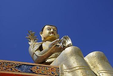 Golden Buddha figure, Maitreya, in Likir Monastery, Ladakh, India, Himalayas, Asia
