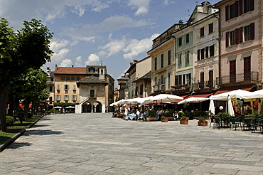 Piazza Motta square, Orta San Giulio on Lake Orta, Lago d'Orta, Piedmont, Italy, Europe