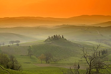 Evening mood, Villa Belvedere, San Quirico d'Orcia, Tuscany, Italy, Europe