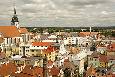 View of the city from the Black Tower, Jindrichuv Hradec, Neuhaus, South Bohemia, Czech Republic, Europe