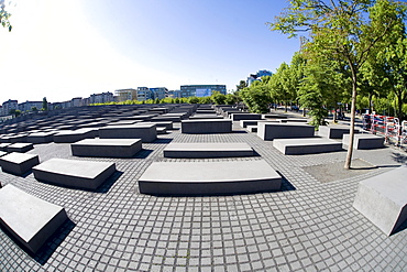 Holocaust Memorial, memorial to the murdered Jews of Europe, taken with a fisheye lens, Berlin-Mitte, Germany, Europe
