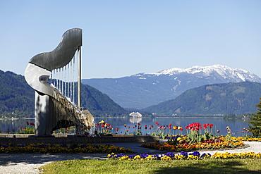 Harp sculpture in the park at Lake Ossiach, Ossiach, Carinthia, Austria, Europe