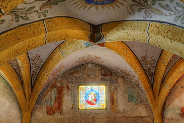 Romanesque crypt in Maria Woerth at Woerthersee lake, Carinthia, Austria, Europe