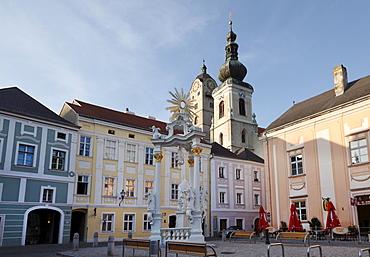Town hall square in Stein near Krems, Wachau, Lower Austria, Austria, Europe
