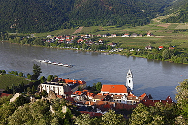 Duernstein, Danube river, panoramic view from the castle ruins, Wachau region, Lower Austria, Austria, Europe