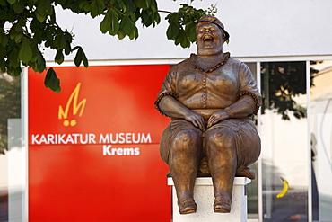 Bronze sculpture by Manfred Deix in front of the Karikaturmuseum caricature museum, art mile in Krems, Wachau region, Lower Austria, Austria, Europe