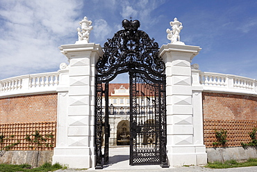 Wrought iron gate and fountain grotto, baroque terrace garden, Schloss Hof castle in Schlosshof, Marchfeld, Lower Austria, Austria, Europe