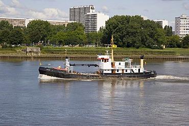 Ship passing on the Scheldt river near the port of Antwerp, Belgium