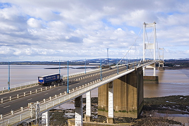 Second Severn crossing looking west from Aust Cliff, England, towards Wales, United Kingdom, Europe