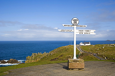 The Land's End Signpost, Land's End, Penn an Wlas, Cornwall, England, United Kingdom, Europe