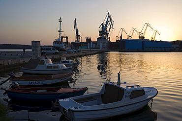View on Pula shipyard, Uljanik, from Pula Castle, Kastel, Pula, Istria, Croatia, Europe
