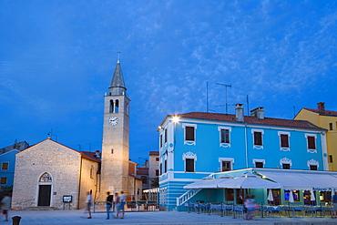 Church of ss. Cosmas and Damian, Crkva Sv Kuzme i Damjana, Titova Riva, twilight, Fazana, Istria, Croatia, Europe