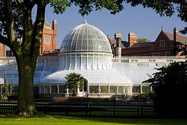 Palm house in the botanic garden of Belfast, County Antrim, Ulster, Northern Ireland, United Kingdom, Europe