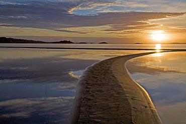 Sandbank at sunrise over Lough Mask in Connemara, County Mayo, Connaught, Ireland, Europe