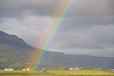 Rainbow in front of Ben Bulben Table Mountain, County Sligo, Connaught, Ireland, Europe
