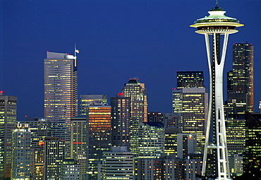 Skyline of Seattle, the Space Needle right, at night, Seattle, Washington, USA