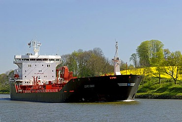 Tanker on the Kiel Canal, Schleswig-Holstein, Germany, Europe