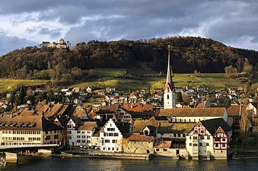 The historic city of Stein am Rhein with the castle Hohenklingen in the evening light, Canton Schaffhausen, Switzerland, Europe