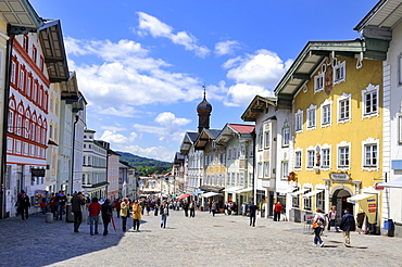 The market street in the district town of Bad Toelz, district of Bad Toelz-Wolfratshausen, Bavaria, Germany, Europe